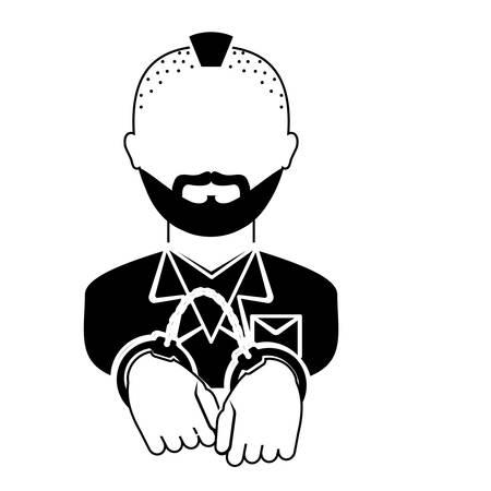 symbol victim: handcuffed criminal  icon image vector illustration design