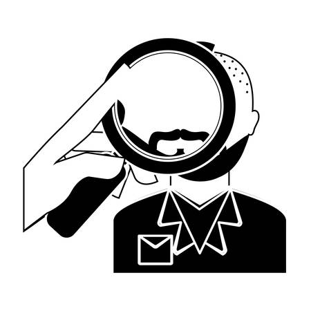 magnifying glass over man investigation icon image vector illustration design