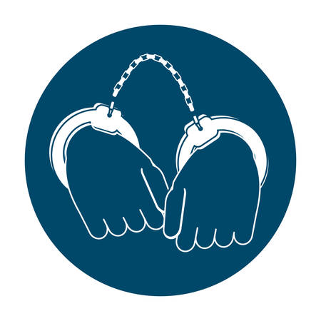 Handschellen Kriminalität Symbol Bild Vektor-Illustration Design