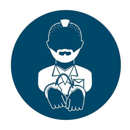 handcuffed criminal two tone button  icon image vector illustration design