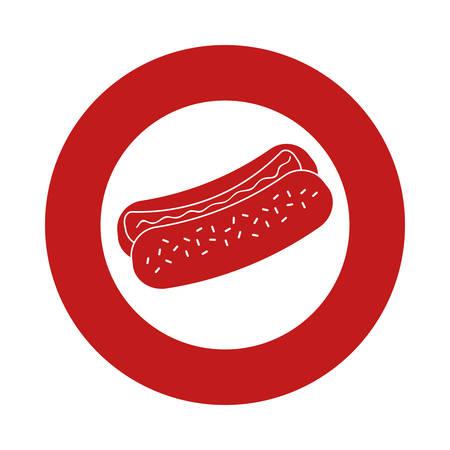 hot dog fast food emblem image vector illustration design