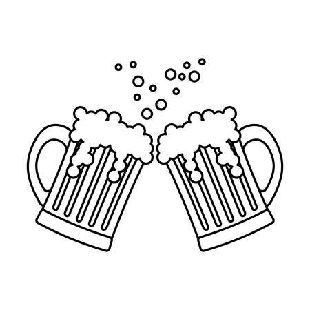 contour beer glasses icon image design, vector illustration