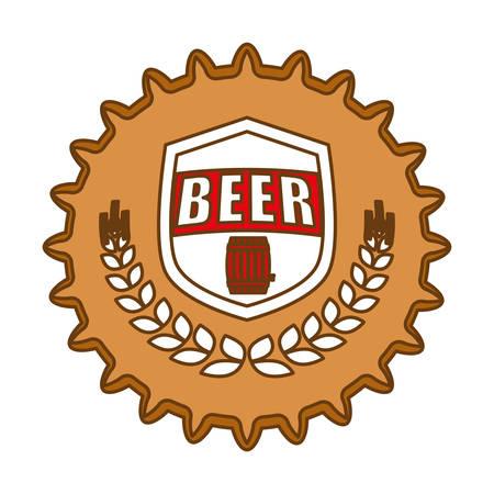 octoberfest: imagen de icono de emblema de tapa de cerveza, ilustración vectorial