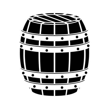 distillery: black wooden barrel icon image design, vector illustration Illustration