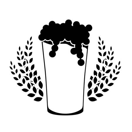 cereal bar: black beer glass with wheat icon image design, vector illustration Illustration