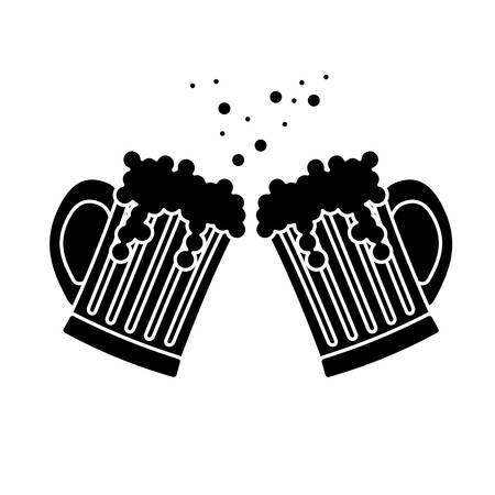 black beer glasses icon image design, vector illustration