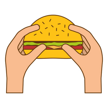 hamburger in the hands icon image, vector illustration