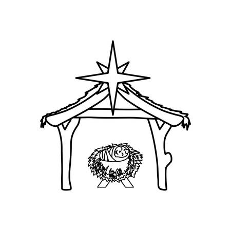 Christmas manger concept icon vector illustration graphic design