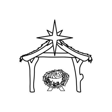 Natale concetto manger icona illustrazione vettoriale progettazione grafica