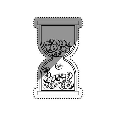 Hourglass with coins icon illustration graphic design Illustration