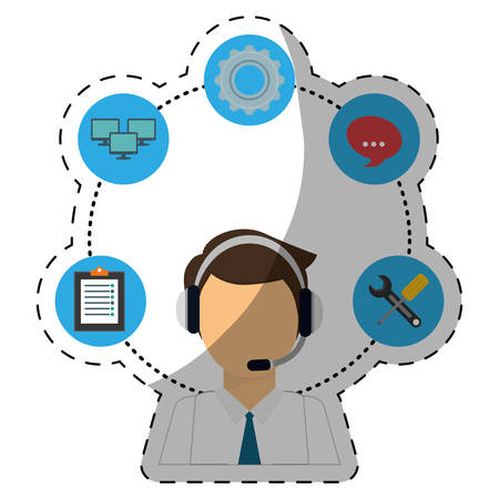 technical service and call center icon, vector illustration image