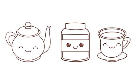 teapot tea cup and jar icon image black line vector illustration design
