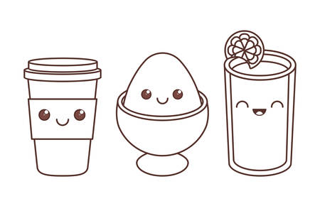 disposable coffee cup boiled egg and juice icon image black line vector illustration design
