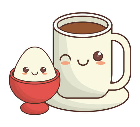 boiled egg: coffee cup and boiled egg   icon image vector illustration design Illustration
