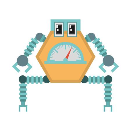 multitask: robot multi-task technology pincers arms vector illustration Illustration