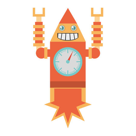 robot clock laungh rocket smile vector illustration eps 10 Illustration