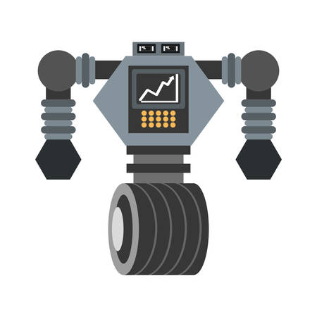 cyberpunk: big robot futuristic analytics screen wheel vector illustration eps 10