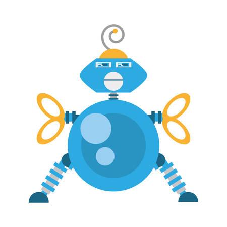 blue robotic antenna communication mechanical future vector illustration