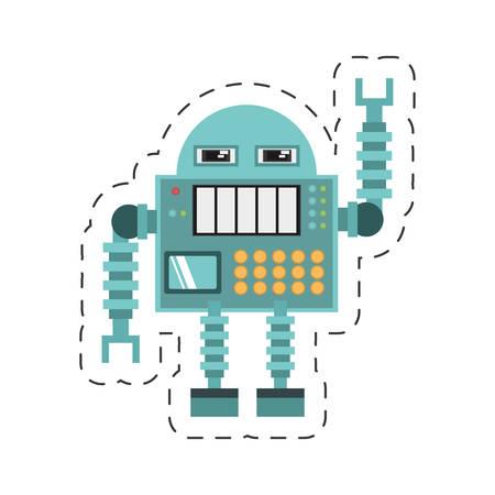 manufacturer: robotic operator machine technology cutting line vector illustration