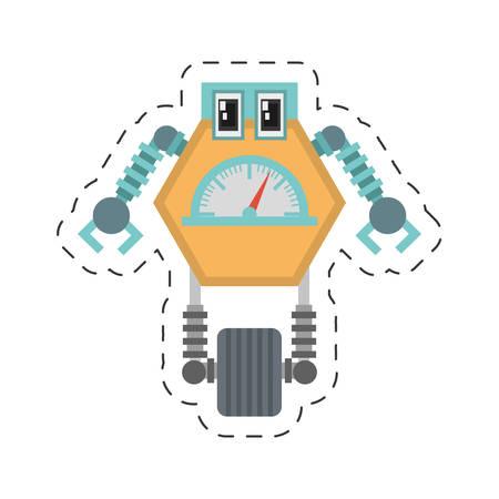multitask: robot multi-task technology pincers arms cutting line vector illustration