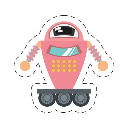 pink robot artificial intelligence cutting line vector illustration