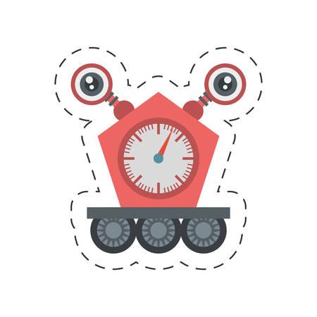 computer operator: robot clock electronic mechanical cutting line vector illustration
