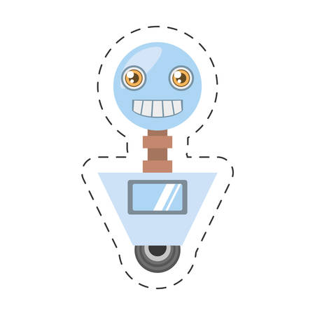 cybernetics: artificial intelligence robotic smiling screen cutting line vector illustration