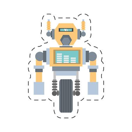 robotic: robotic mechanical engineering rocket cutting line vector illustration