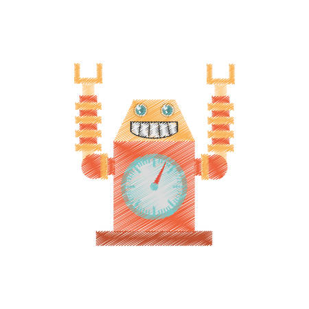 drawing robot clock launch rocket smile vector illustration