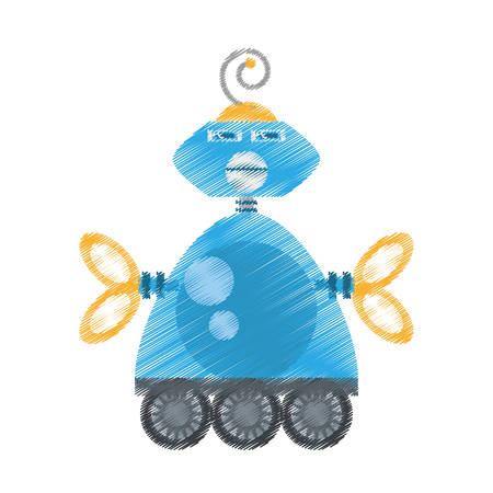 drawing blue robotic antenna communication mechanical future vector illustration