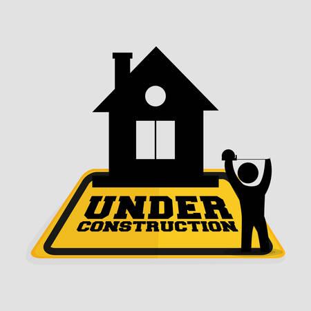 under construction worker house tape measuring vector illustration