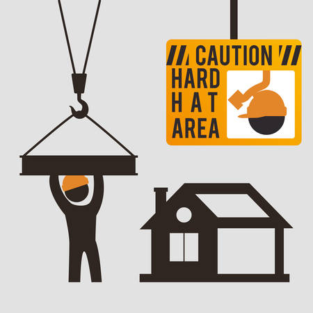 caution hard hat area sing worker vector illustration eps 10 Illustration