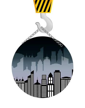 fil de fer: construction de bâtiments grue suspendus badge vector illustration