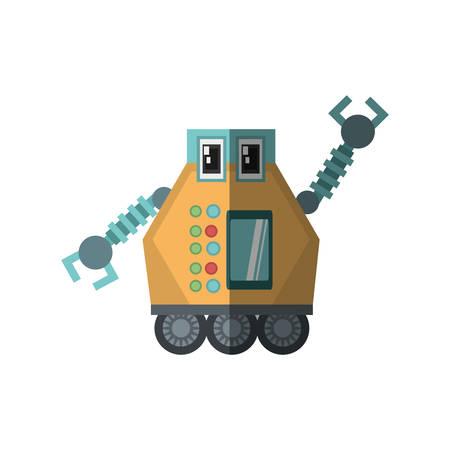 multitask: robot multi-task technology shadow vector illustration