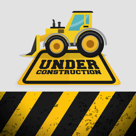 tractor warning: excavator machinery under construction sign vector illustration eps 10