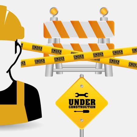 worker tape under construction sing vector illustration