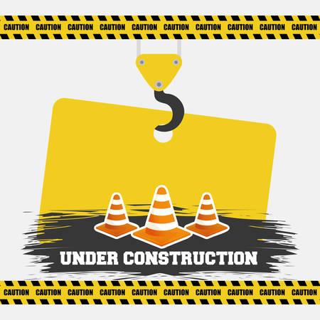 under construction cone traffic warming sign hanging vector illustration