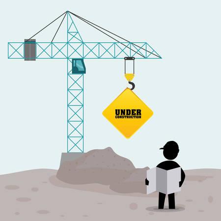 foreman worker construction concrete blueprint crane sign vector illustration