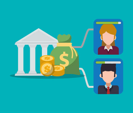 banking digital character money and coins vector illustration