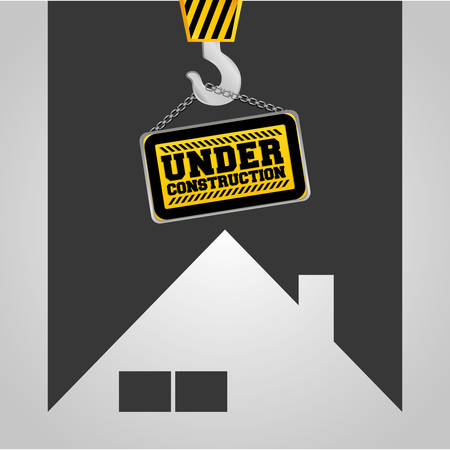 under construction sign: real state house under construction sign hanging vector illustration