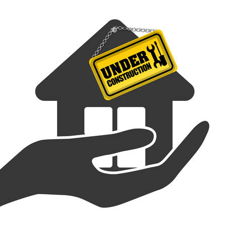 vector sign under construction: under construction hand hold house sign vector illustration