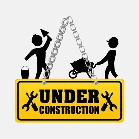under construction men workers walking helmet vector illustration eps 10