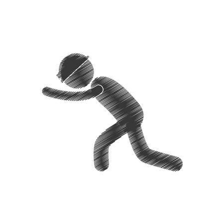 drawing mining worker helmet push figure pictogram vector illustration