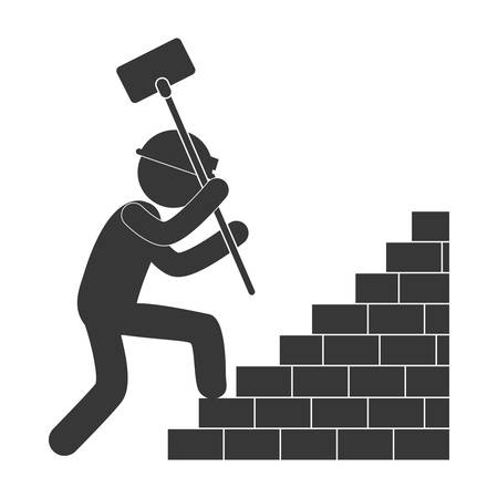 worker hammer climbing brick stairs figure pictogram vector illustration