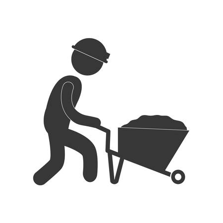 worker pushing wheelbarrow mine work figure pictogram vector illustration