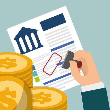 banking credit coins approved vector illustration