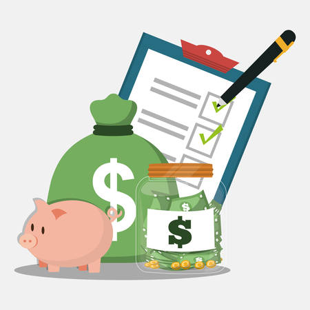 piggy bag money accounting pencil vector illustration eps 10