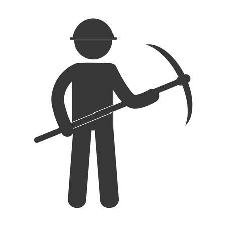 mining man with helmet pick axe figure pictogram vector illustration