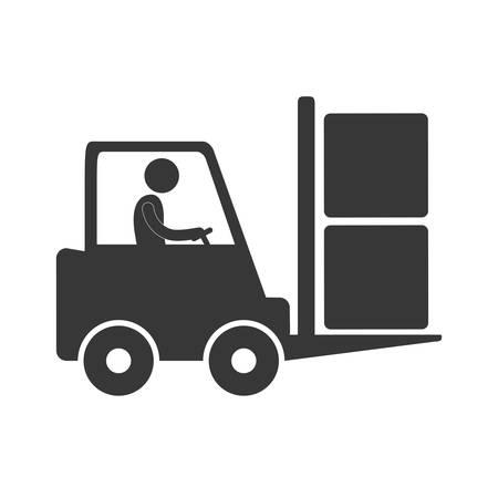 worker driving forklift truck delivery box figure pictogram vector illustration