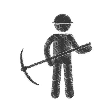drawing mining man with helmet pick axe figure pictogram vector illustration